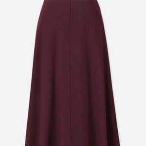 UNIQLO Dark Red High Waist Flared Wool Knit Midi S